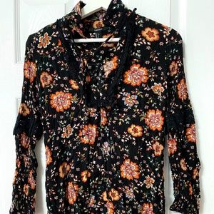 Women's Floral Long Sleeve Short Dress S